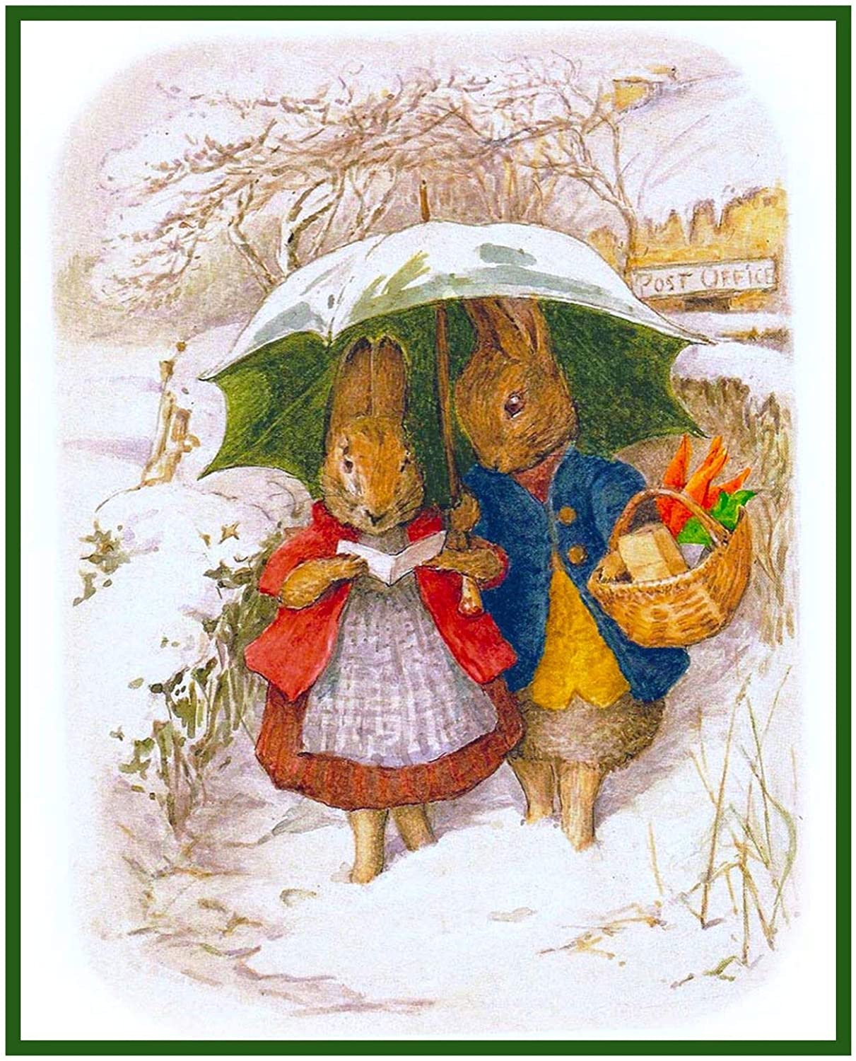 Orenco Originals Mr and Mrs Rabbits Snow Day by Beatrix Potter Counted Cross Stitch
