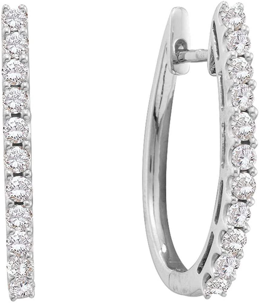 14kt White Gold Womens Round Diamond Single Row Hoop Earrings 1.00 Cttw Fine Jewelry for Women