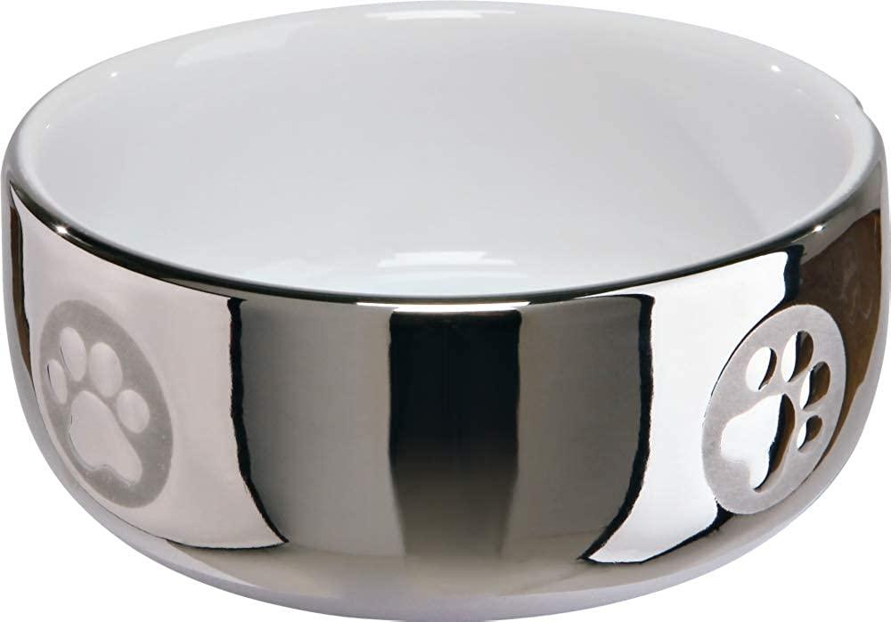 Trixie Ceramic Cat Bowl With Paw Motif (10 fl. oz) (Silver/White)