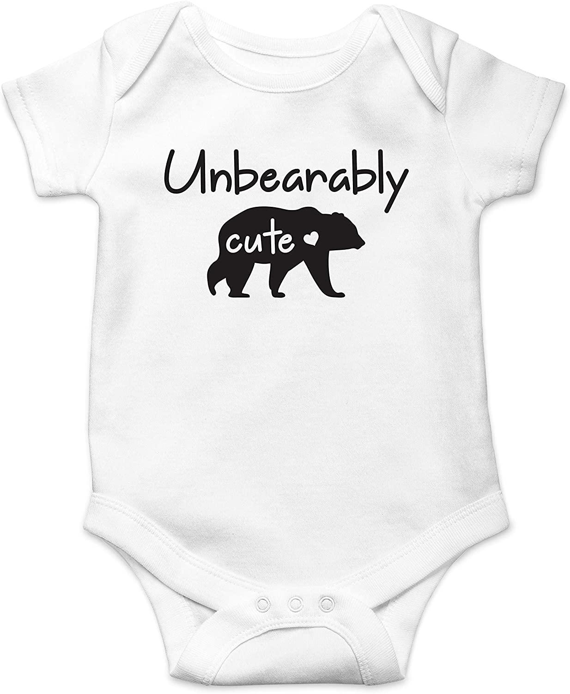 Unbearably Cute Funny Baby Bear Pun - Animal Lover Cute Joke -Baby Shower Infant Baby Romper