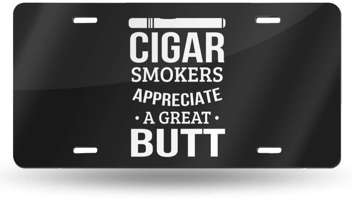OWSDC Funny Cigar Smoking Pun Licenses Plate Cover for Men Funny Metal Car Tag Cute Car Decorations for Women