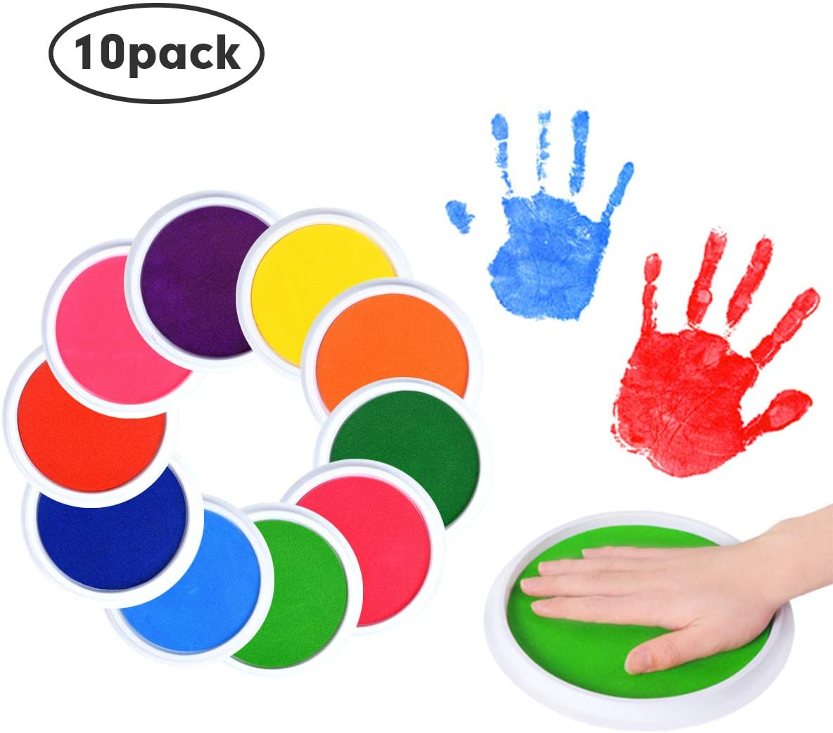 ARELUX 8 Rainbow Color Washable Ink Pad,DIY Ink Pad for Fingerprints Birth Footprint Rubber Stamps