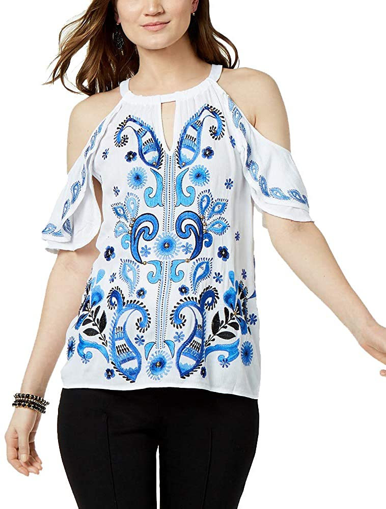 I.N.C. International Concepts Womens Petite Embroidered Cold-Shoulder Top