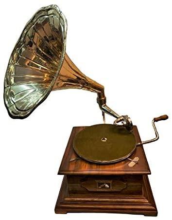 Global Art World Vintage The Gramophone Co. His Master Voice HMV Brass Horn Wooden Art Desk Décor Turntable Antique Machine Musical Box Phonograph A1BG 025