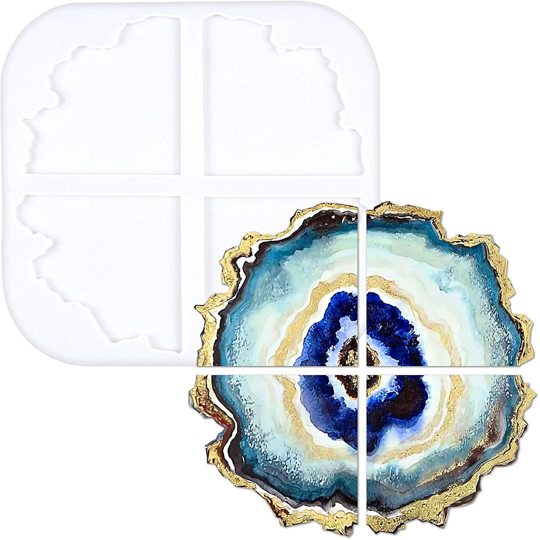 FUNSHOWCASE Geode Agate Coaster Epoxy Resin Silicone Molds Stone Segments 4 Shapes Large 10.7x10.2x0.4inch
