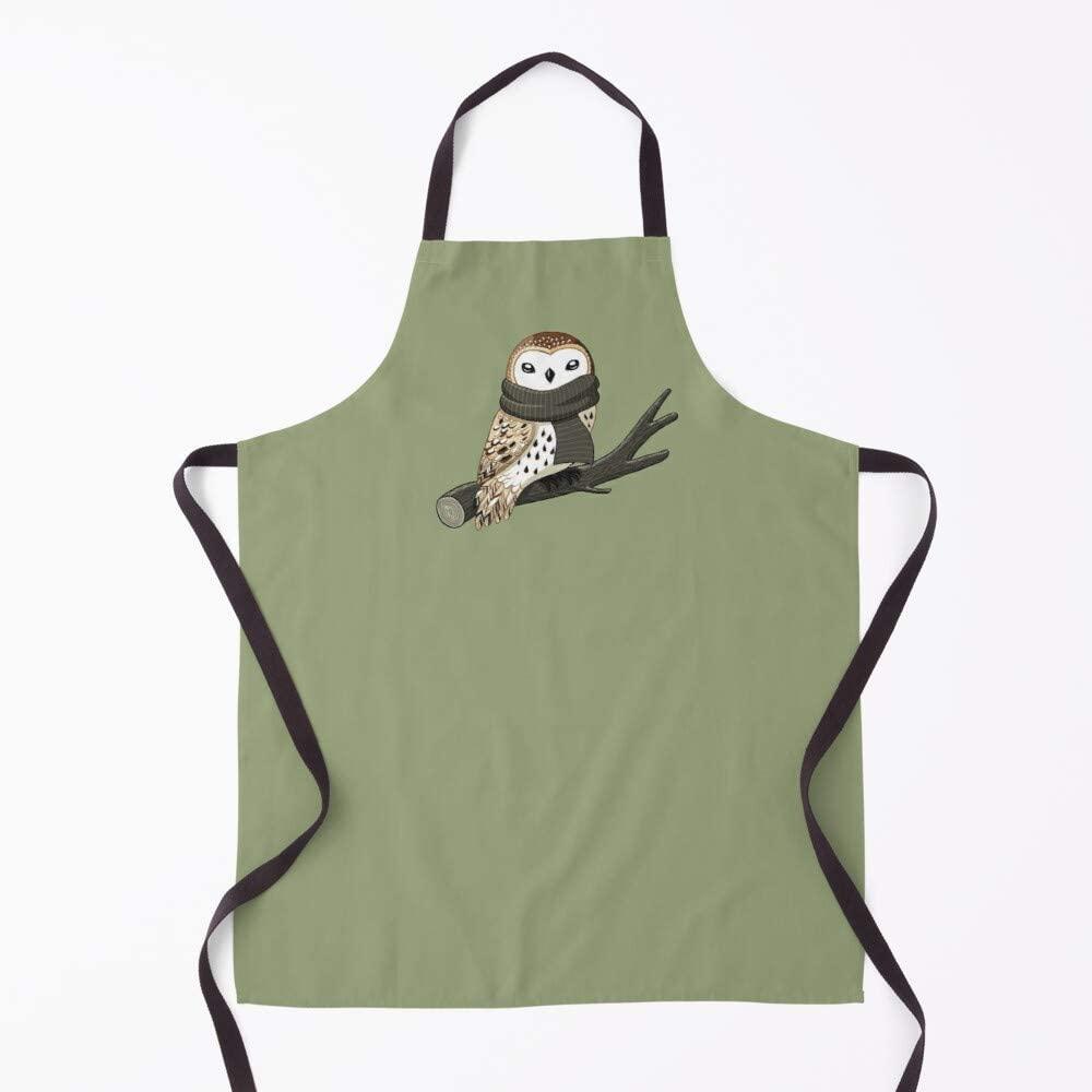 Promini Kitchen Cooking Apron Winter Owl Cotton Kitchen Chef Apron Baking BBQ Apron for Men Women 31