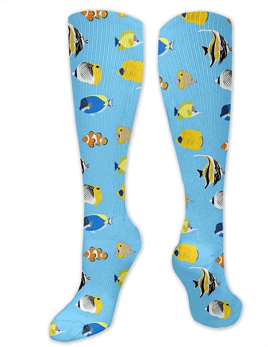 Men Women Knee High Socks Tropical Clownfishes Coral Fish Running Hose Stockings