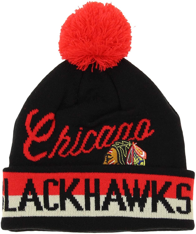 CCM Chicago Blackhawks NHL Boys Youth Knit Cuff Pom Beanie, Black