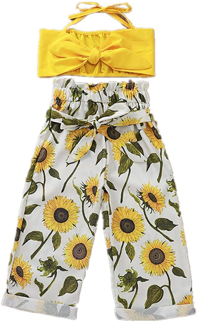 Toddler Baby Girls Outfit Halter Strap Crop Tops + Sunflower Floral Trousers Pants Set 1-5T