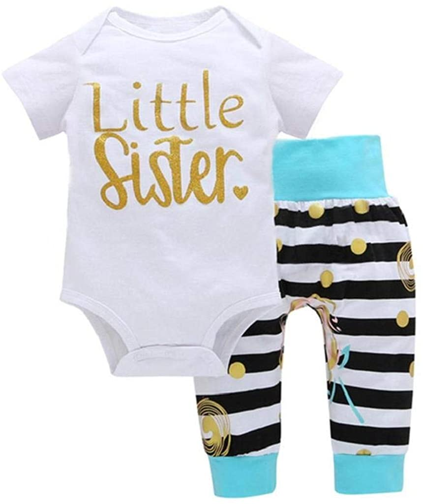 terbklf Newborn Infant Baby Girls Summer Stylish Romper Letter Tops + Striped Dot Long Pants Outfits Clothes Set