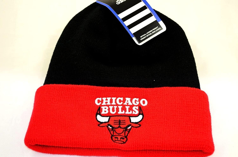 nba Chicago Bulls Cuffed Beanie 2 Tone Cap Hat Black Red