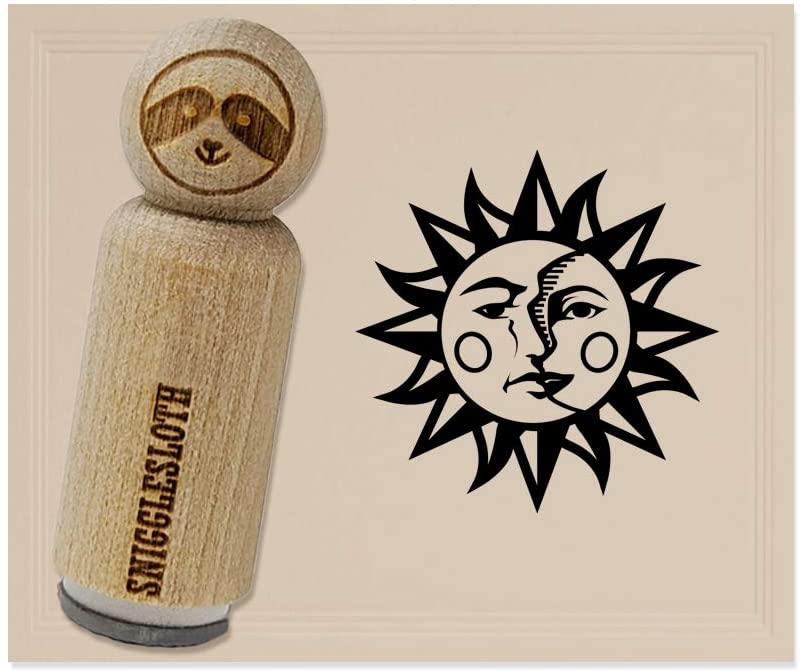 Sun and Moon Heraldic Faces Rubber Stamp for Stamping Crafting Planners - 3/4 Inch Small