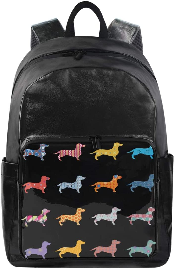Women/Men Bookbag Black Funny Dachsund Puppy Dog Casual Canvas Backpack School Rucksack for Students