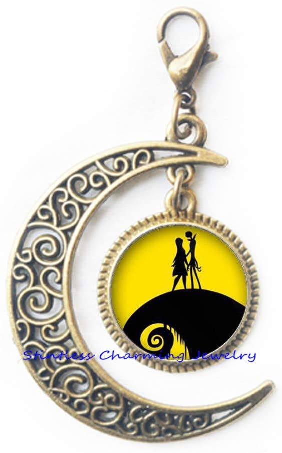 Christmas Zipper Pull,Jack Skellington Sally Lobster Clasp, Wedding Gifts, Art Gifts Accessories for Men, for women-JV263