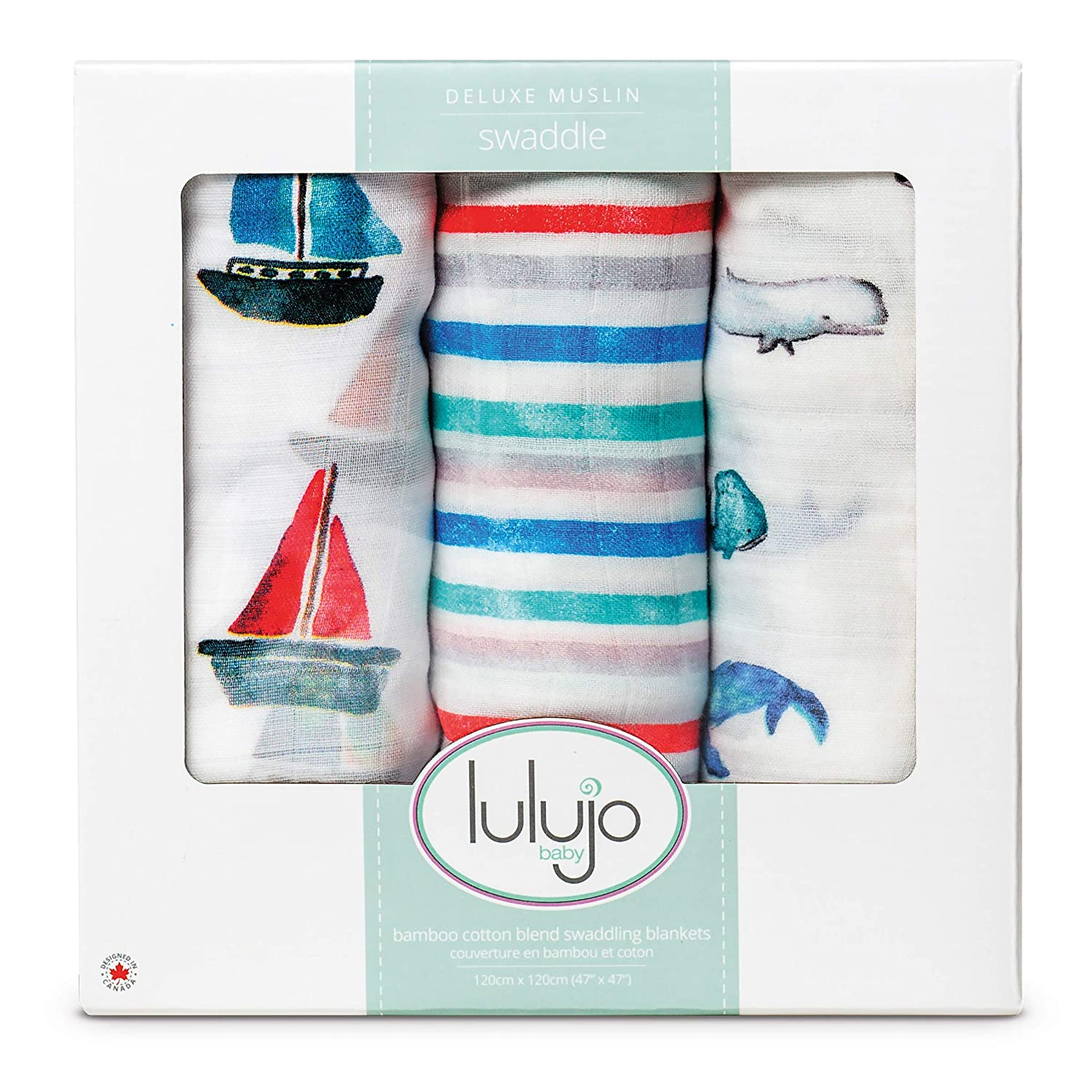 Lulujo Baby Set of 3 Deluxe Muslin Swaddle Blankets, Out at Sea, 47 x 47-Inch