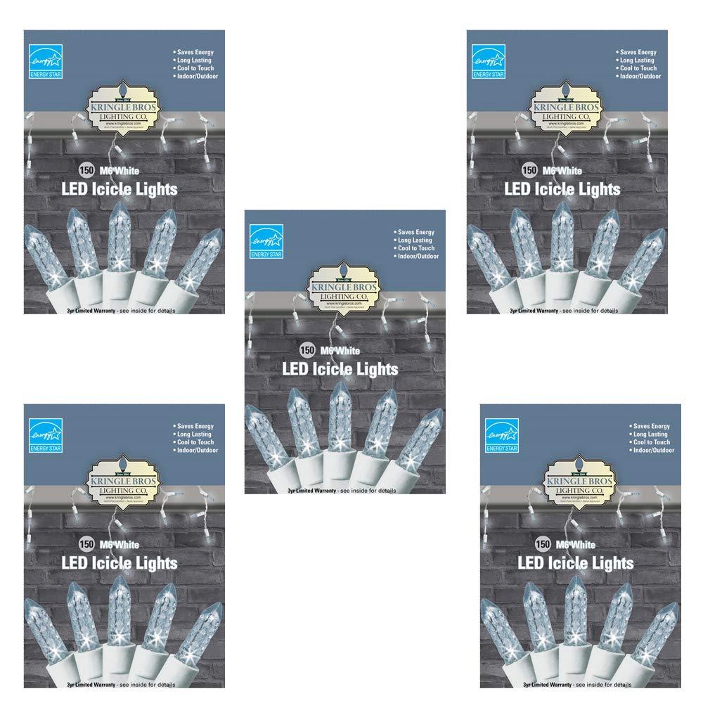 5 Pack - Kringle Bros Warm White M6 Diamond Cut LED Icicle Lights - 150 Lights - 9.5 ft Long