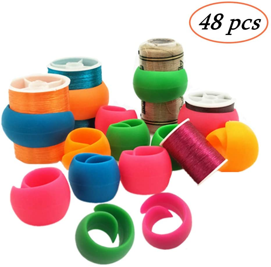 YEQIN 48 Pieces Thread Spool Huggers/Thread Spool Savers to Prevent Thread Unwinding and Keep Thread Tails