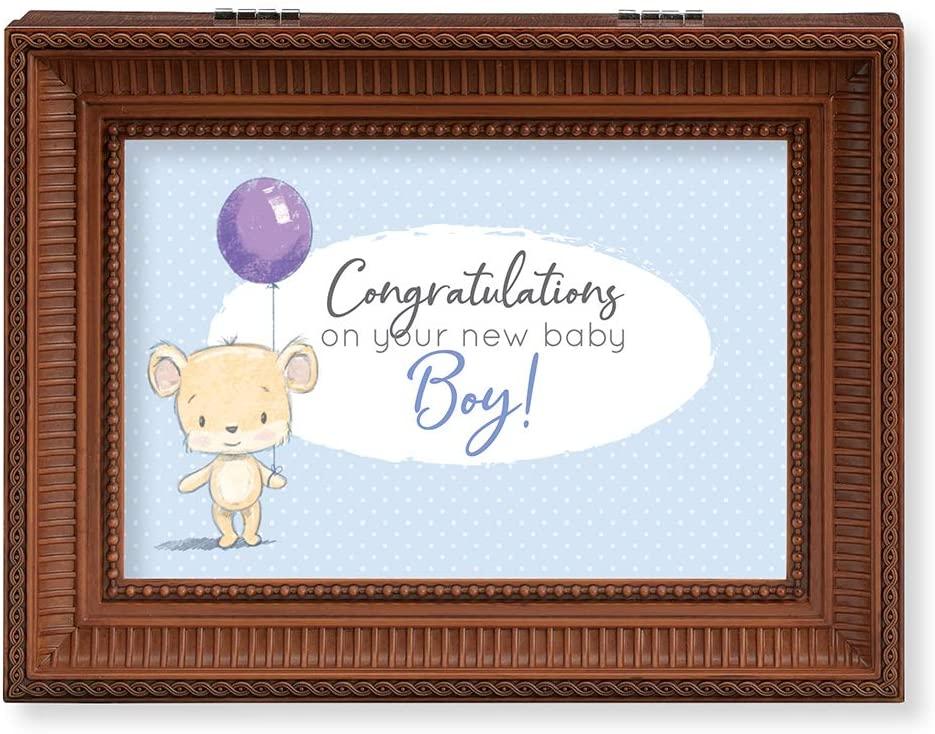 Roman Music Boxes - New Baby Boy Woodgrain Finish Music Box, Wind Up Sankyo Musical Movement, Velvet Lining, Fits 6.5