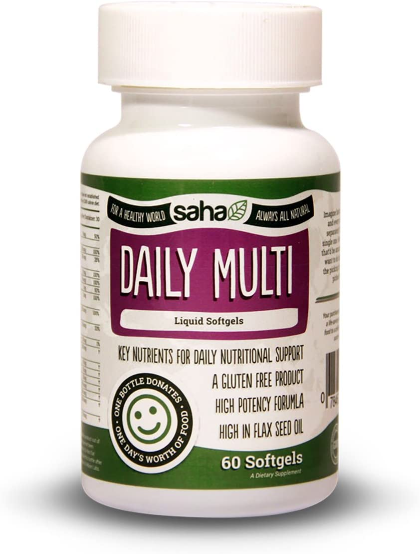 Saha Daily Multi Softgels. All Natural and Rich in Organic Flax Seed Oil. (60 Softgels).
