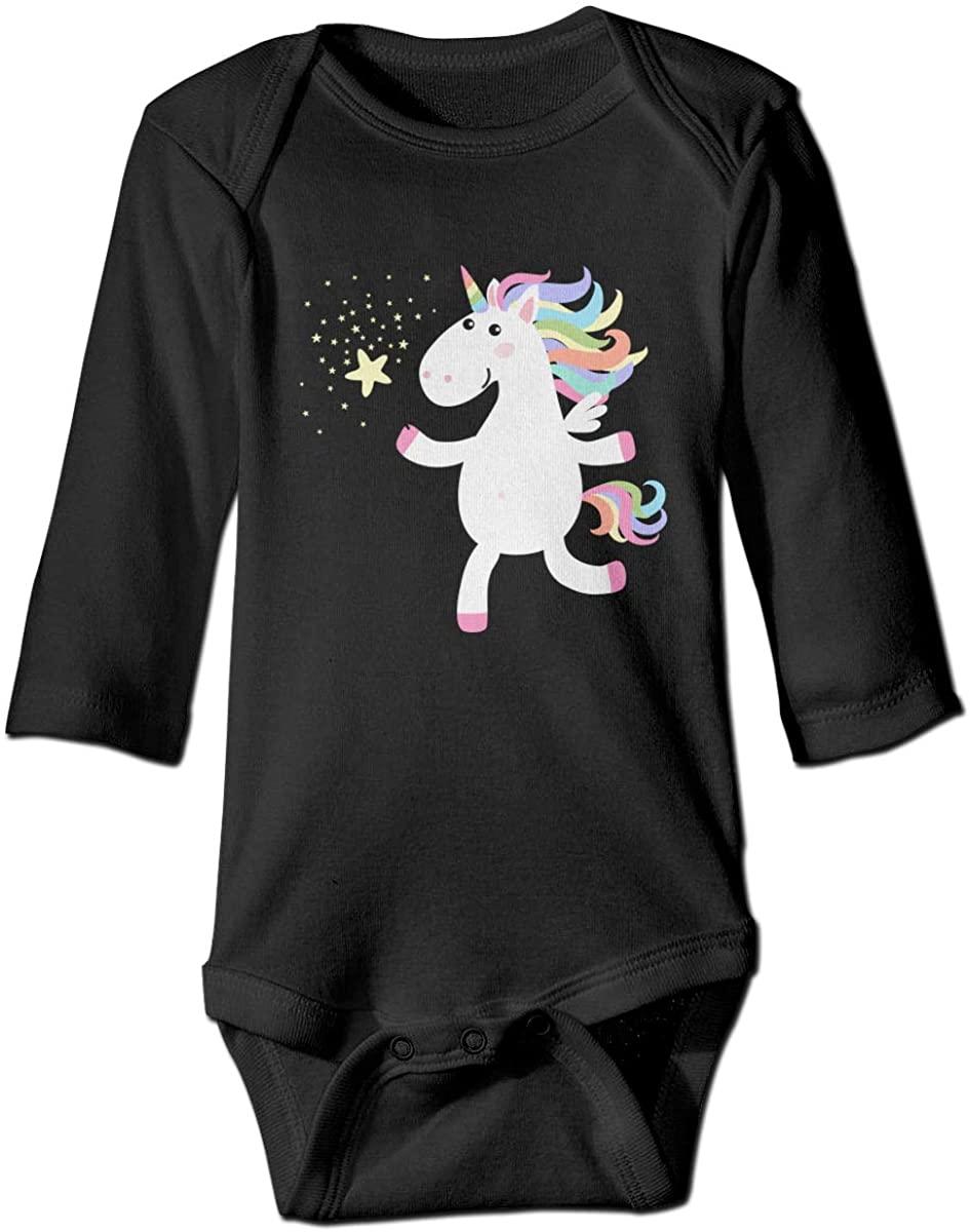 Rainbow Horse Unisex Baby Bodysuit Infant Cotton Outfits Long Sleeve Jumpsuit