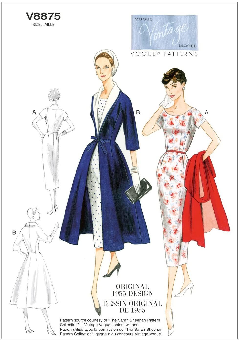 VOGUE PATTERNS V8875 Misses' Dress/Belt/Coat and Detachable Collar Sewing Template, Size B5 (8-10-12-14-16)