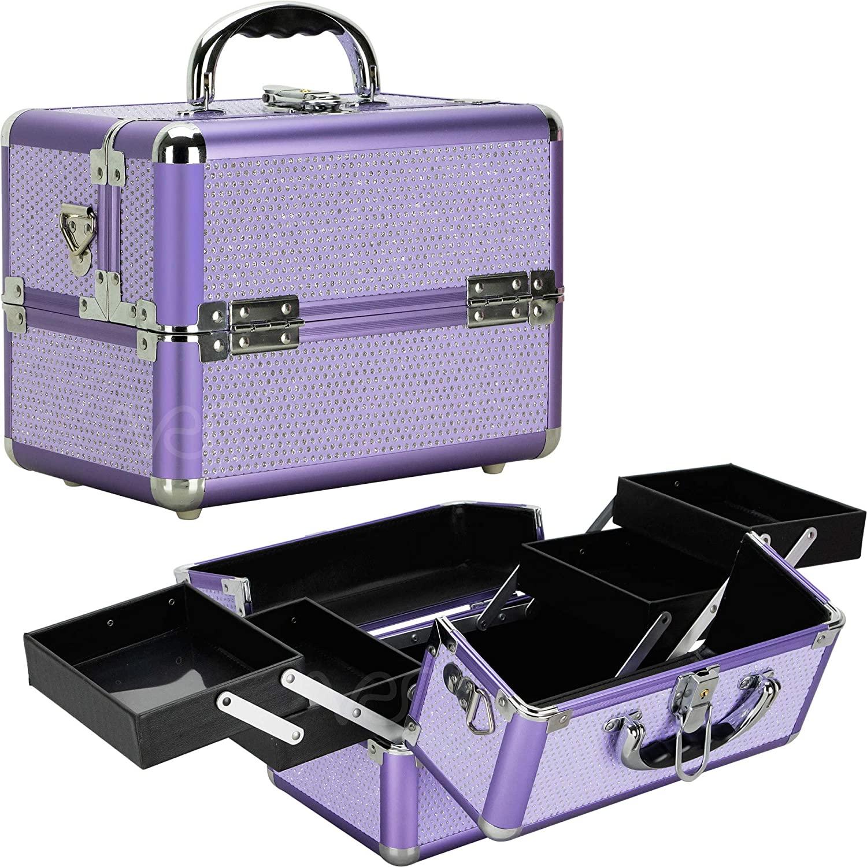 Sunrise C0211 4Tiers Expandable Trays Craft Storage Organizer Makeup Case - Purple Krystal