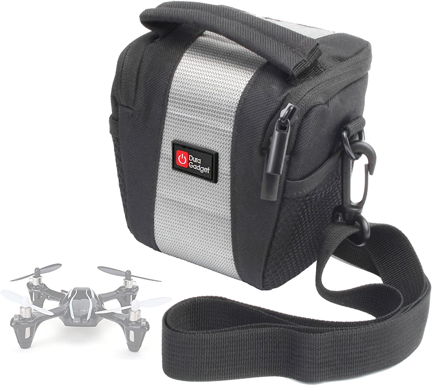 DURAGADGET Water-Resistant Black & Grey Cross-Body Carry Bag - Compatible with The AFUNTA Mini 993 Quadcopter