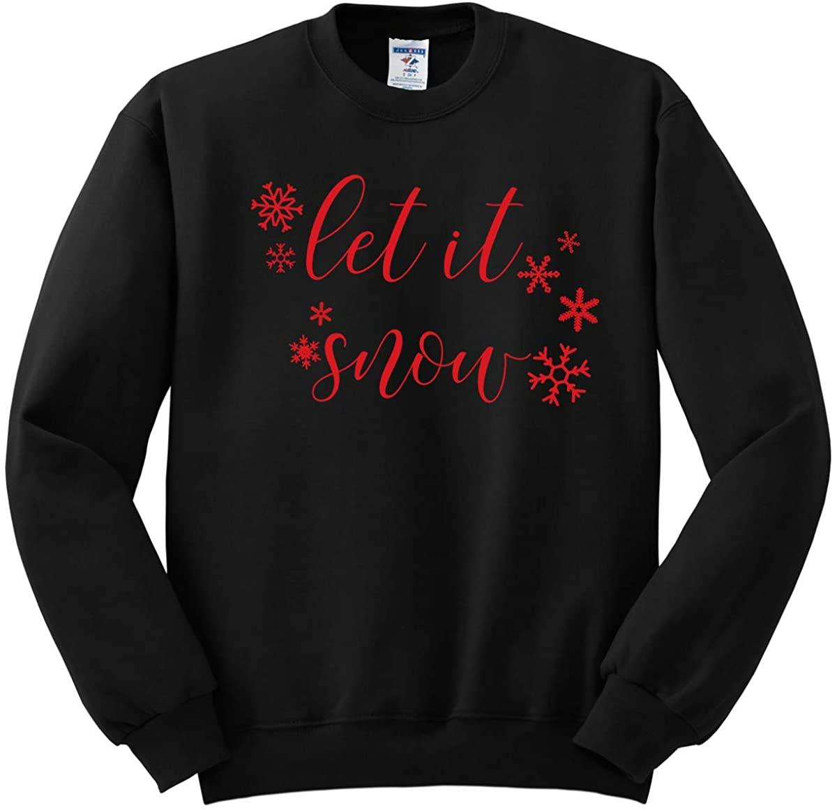 INK STITCH Unisex 562M Adults and Kids Christmas Let it Snow Crewneck Sweatshirts - Black (Kids XL)