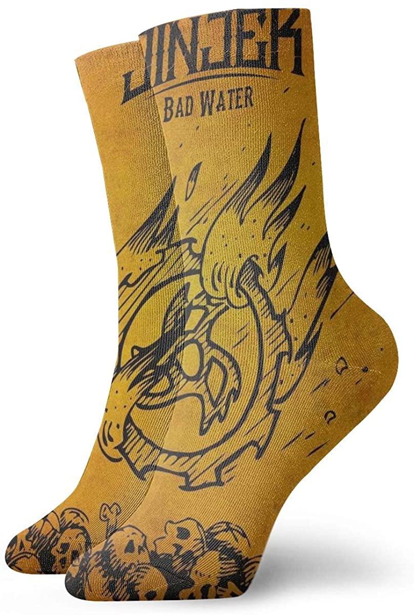MichaelHazzard Jinjer Bad Water Mens' Womens' Novelty Crew Socks Concert Style Over Print Socks