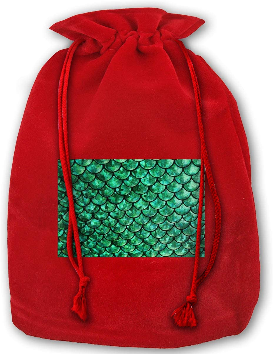 WEDSX Green Fish Scale Christmas Gold Velvet Drawstring Elastic Reusable Gift Bag 35