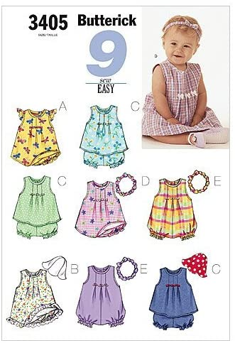 INFANTS DRESS, TOP, ROMPER, PANTIES, HAT & HEADBAND SIZES NB-S-M (7-21 LBS.) 9 SEW EASY BUTTERICK PATTERN 3405