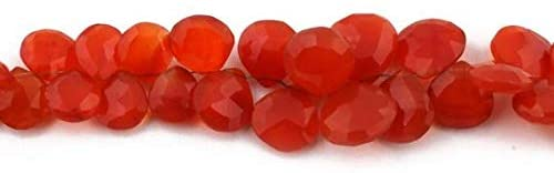 GemAbyss Beads Gemstone Big Halloween Sale 1 Strand Carnelian Faceted Briolettes - Heart Shape Beads 10mm-14mm 8 Inches SB1459 Code-MVG-37172