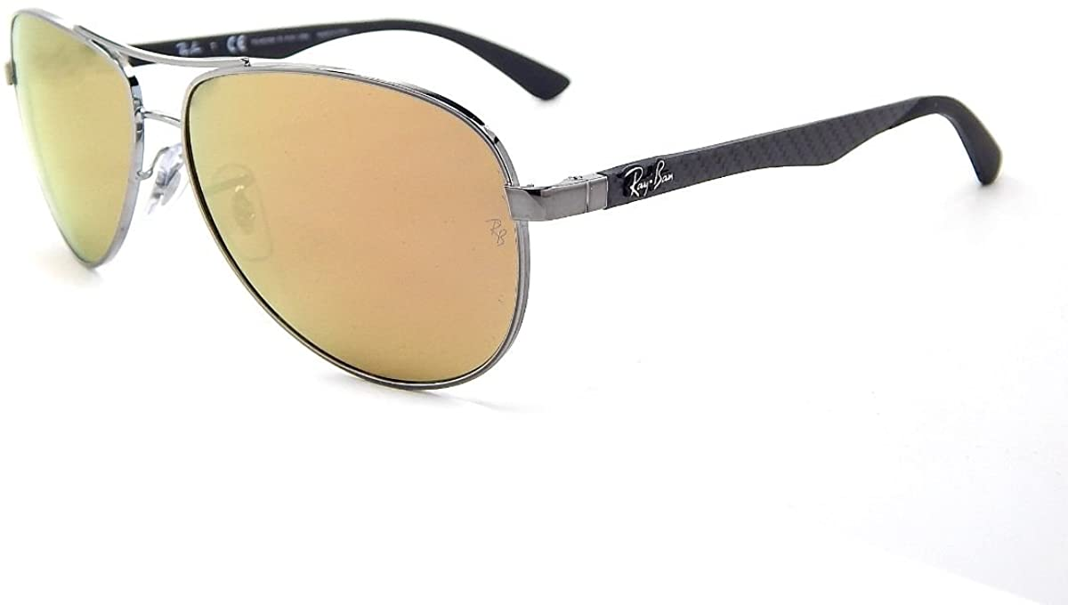 New Ray Ban Carbon Fibre RB8313 004/N3 Shiny Gunmetal / Brown Mirror Gold Polar 58mm Sunglasses