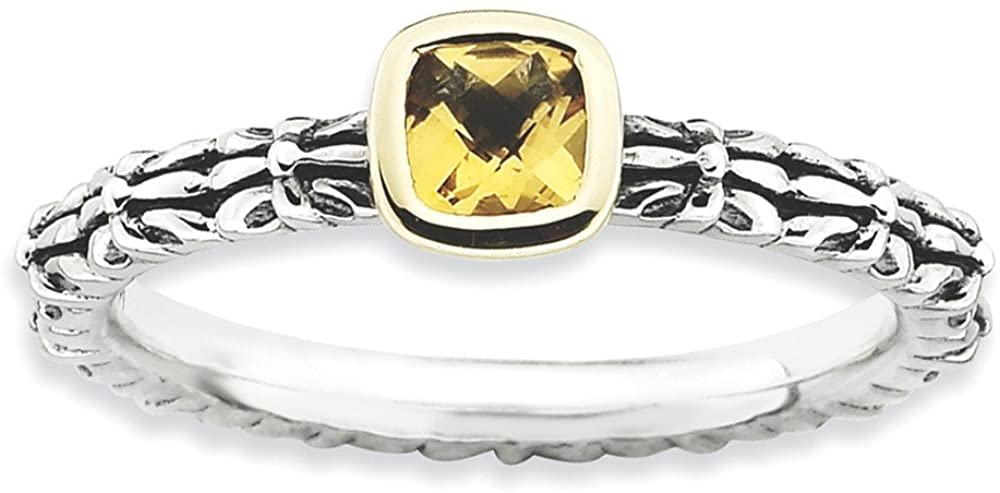 Solid 925 Sterling Silver and 14k Yellow Gold Stackable Checkerboard Cut Citrine Yellow November Gemstone Ring Eternity Band