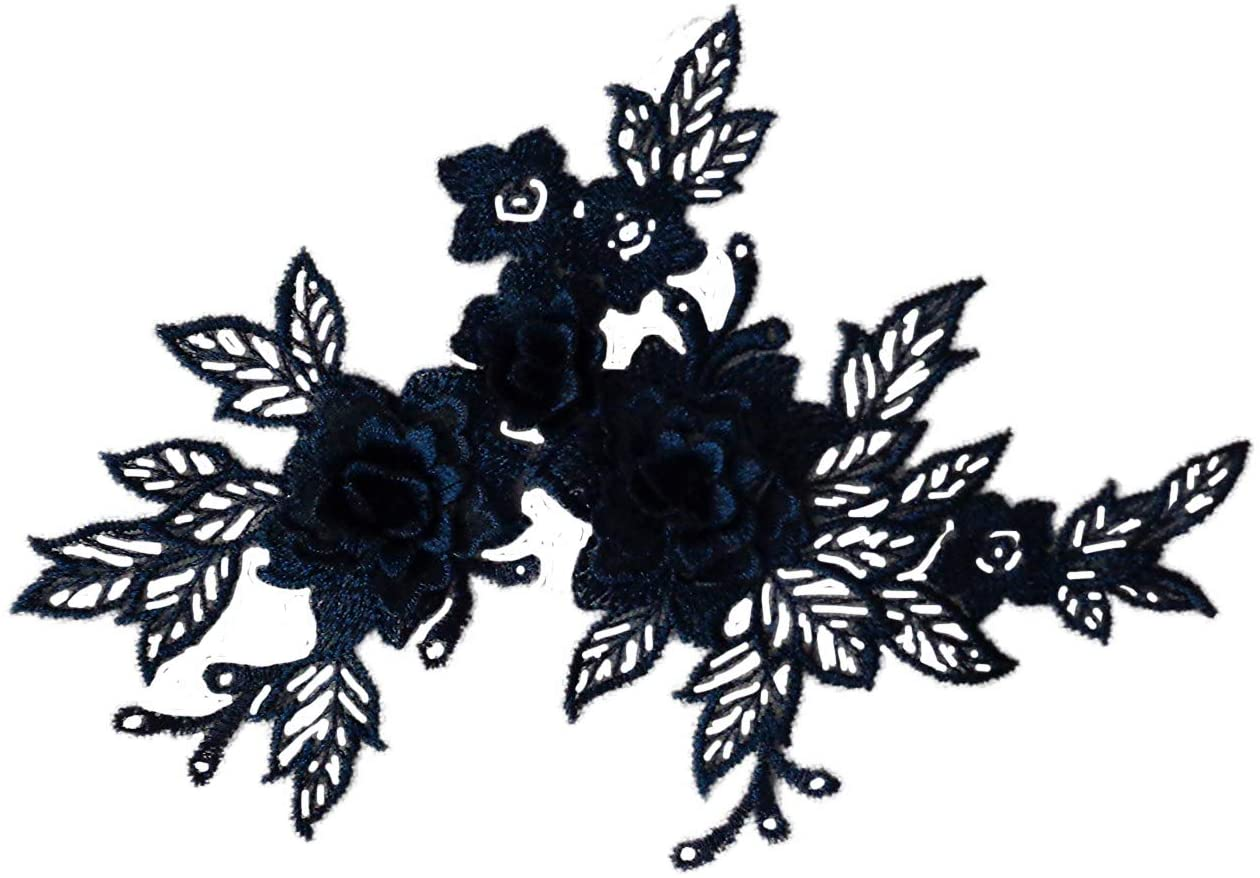 2 Pieces XNavy Double Layers Floral lace Applique Navy Blue Floral Tulle lace Motif Navy Blue 3D lace Applique Motif Navy Flowers Motifs Navy Blue Embroidered Patches Flower Motif for Sewing