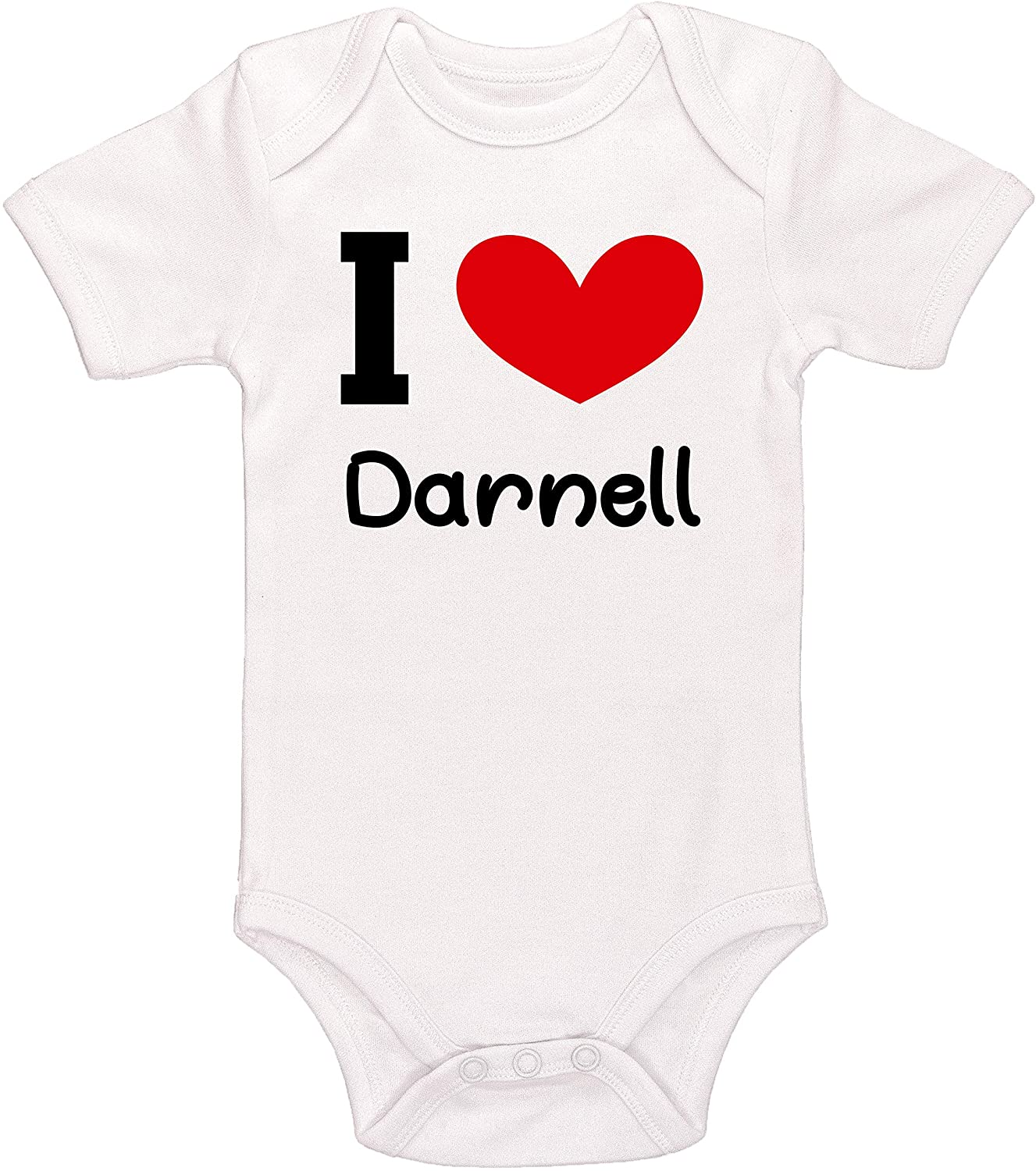 Kinacle I Love Darnell Personalized Baby Bodysuit