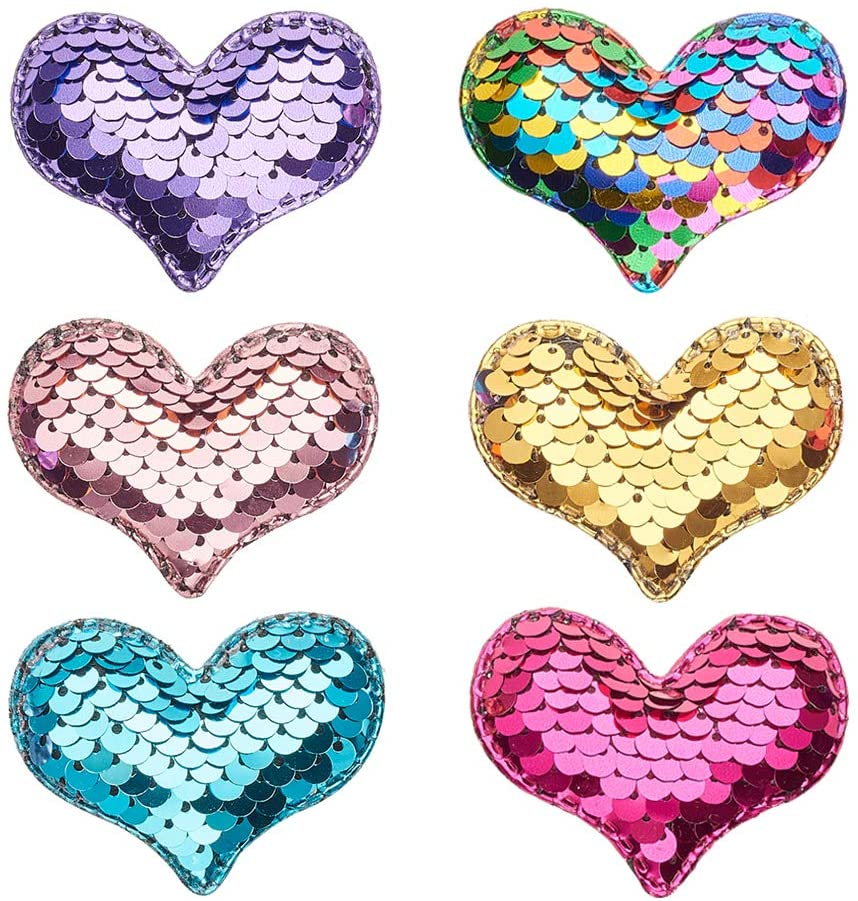 PH PandaHall 30 pcs 6 Colors Sewing on Heart Patches, Sequins Patch Stickers Applique Embroidered Patches Sequin Crafts Accessories for Jeans Jackets Clothing Hat Stitching DIY Artcrafts, Mixed Colors