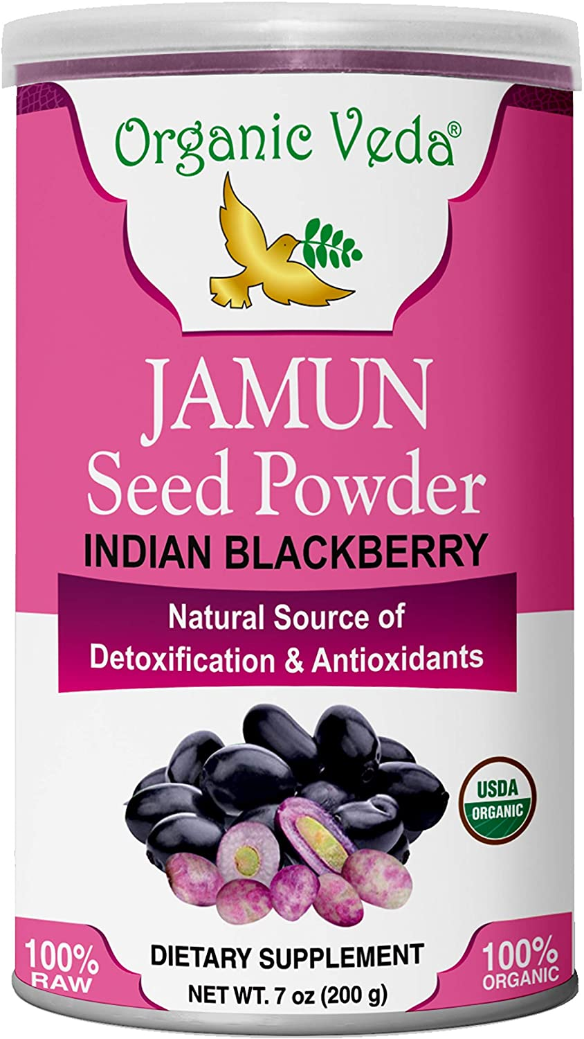 Organic Veda® Jamun Seed Powder 7 Oz (200 Grams) - Organic, Pure and All Natural Herbs Raw Organic Super Food Supplement. Non GMO. Gluten Free. Made in Health USA FDA Registered Facility.