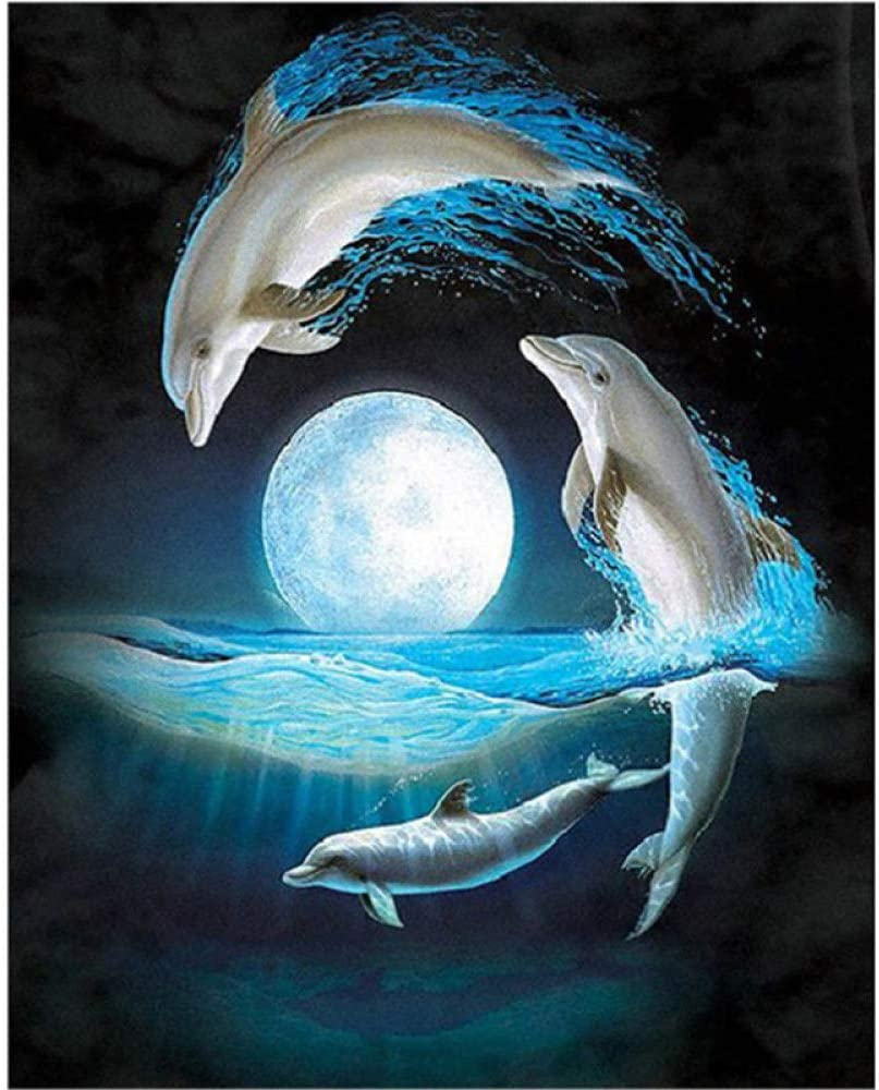 DCPPCPD 5D DIY Diamond Painting, Lake Animal Dolphin Kits for Adults Full Drill Crystal Rhinestone Embroidery Cross Stitch Arts Craft Canvas