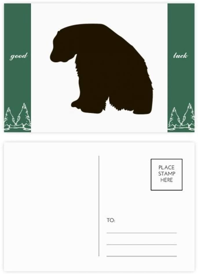 Black Polar Bear Animal Portrayal Good Luck Postcard Set Card Mailing Side 20pcs