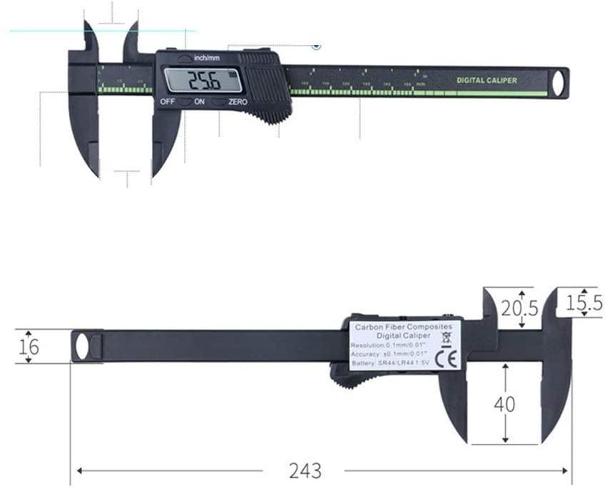 HYY-YY Electronic Digital Display Vernier Caliper 0-150mm Plastic Digital Measuring Tool Inner Diameter Outer Diameter Measuring Tool (Size : 0-150mm) Digital Caliper