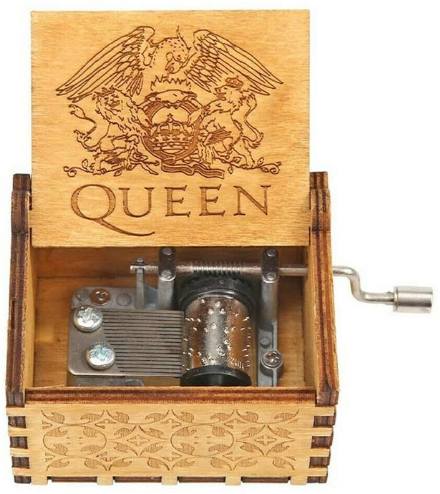 Sizet Wooden Music Boxes Queen, Classic Hand Crank Queen Music Box, Elegant Present for Kids Mom Girlfriend - Bohemian Rhapsody