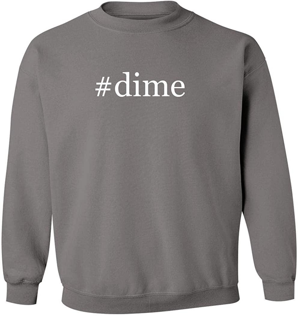 #dime - Men's Hashtag Pullover Crewneck Sweatshirt, Grey, Medium