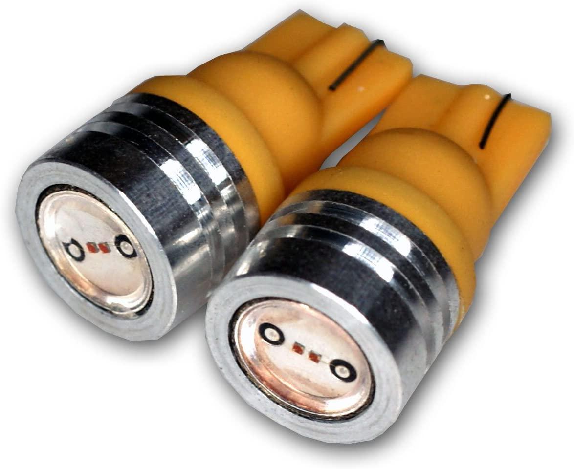 TuningPros LEDIS-T10-AHP1 Ignition Switch LED Light Bulbs T10 Wedge, High Power LED Amber 2-pc Set