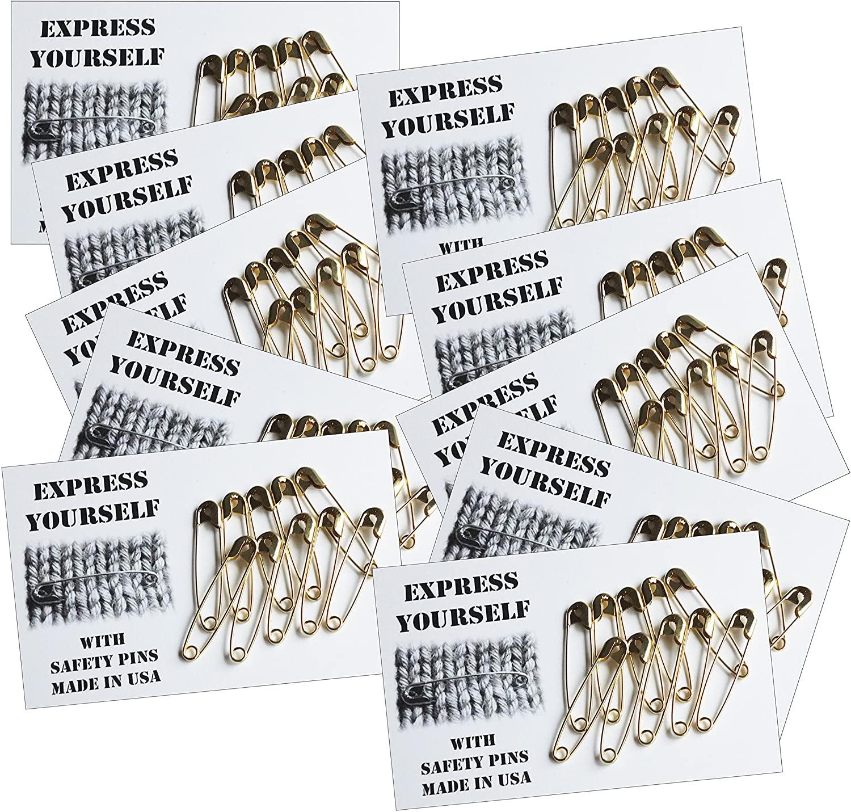 Safety Pins Solidarity Gold 10 packs of 10 pins Made in USA 2