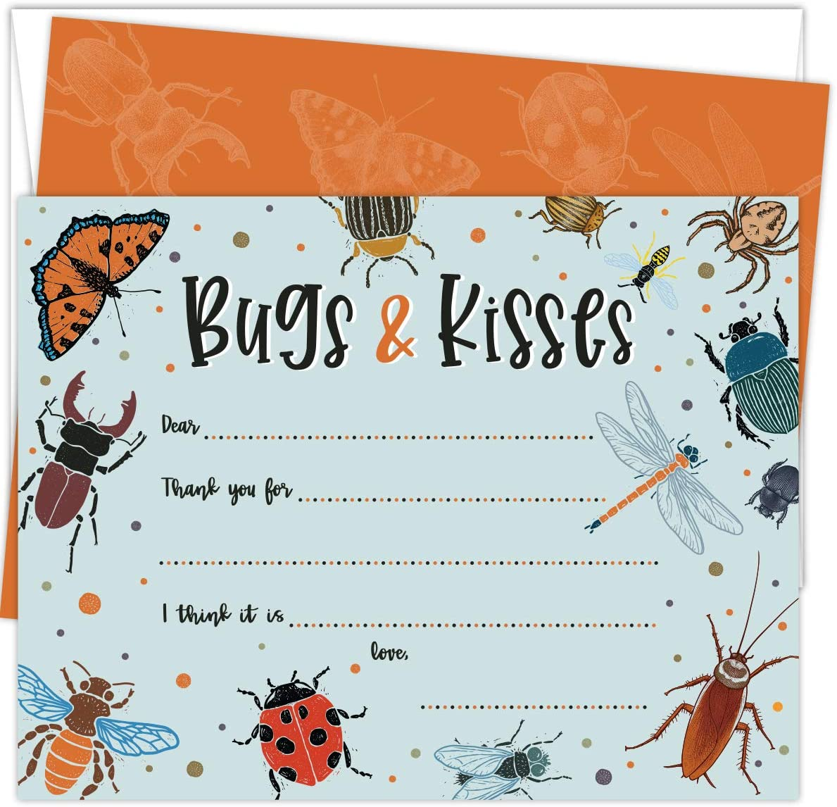 Koko Paper Co Bugs and Kisses Insect Thank You Cards | 25 Flat Note Cards and Envelopes | Printed on Heavy Card Stock.