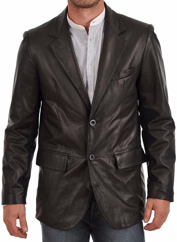 Travel Hide Men's Leather Blazer Two Button Genuine Lambskin Blazer Coat TB018 Black
