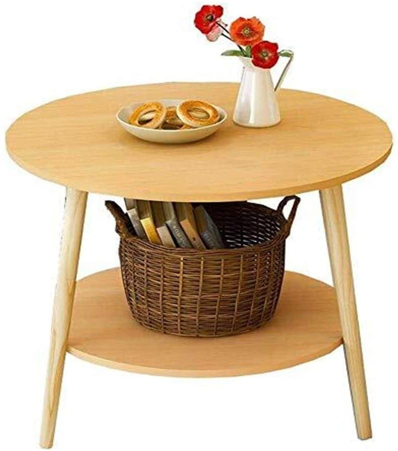 NJYT Simple Mini Living Room Sofa Coffee Table Furniture Small Flat White Round Room Dinner Tables Storage Rack (Color : Wood Color, Size : Large)