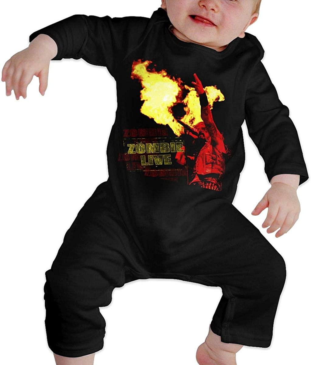 Watkinsmarket Rob Zombie Baby Boy Girl Jumpsuit Jumpsuit Baby Newborn Cotton Long Sleeve Jumpsuit Black