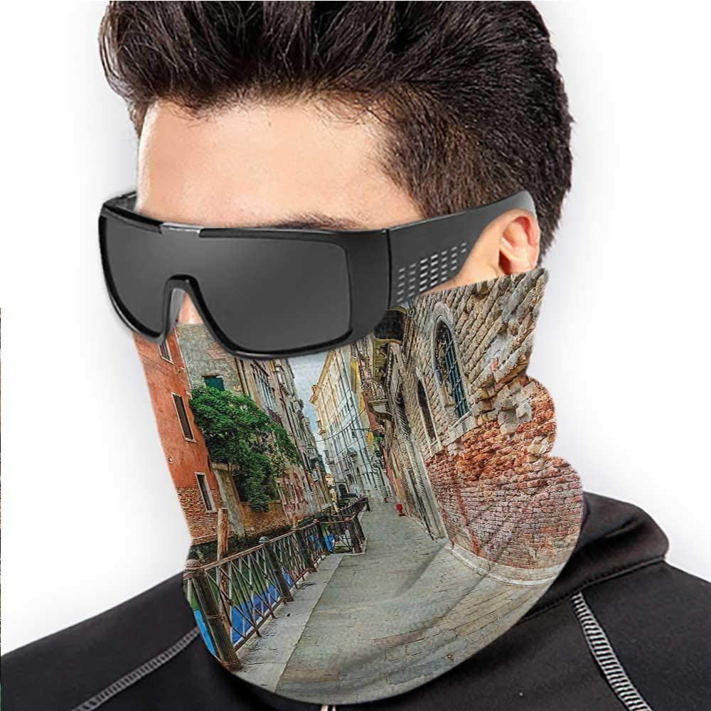 Face Cover Venice Sun Protection Windproof, Fishing Running Cycling Empty Idyllic Streets 10 x 12 Inch